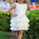 Beyaz Güllü Elbise