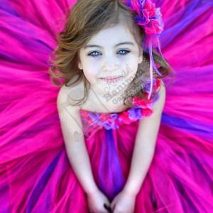 Fuşya Çiçekli Tütü Elbise